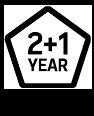2+1 year warranty logo